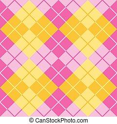 argyle, em, cor-de-rosa amarelo