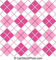 argyle, em, cor-de-rosa