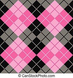 argyle, em, preto, cor-de-rosa