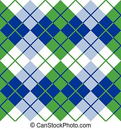 Argyle in Blue, Green and White - Seamless argyle pattern in...