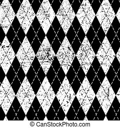 Argyle monochrome seamless pattern. Black and white, grungy texture. Grunge vintage background.