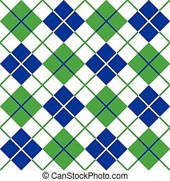 argyle, padrão, em, azul verde