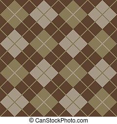 argyle, padrão, em, marrom