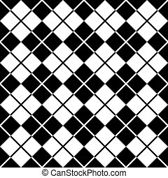argyle, padrão, em, preto branco