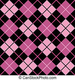 argyle, padrão, em, preto, cor-de-rosa