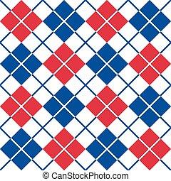 argyle, padrão, em, red-white-blue