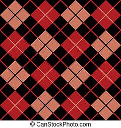 Argyle Pattern Black-Red-Salmon