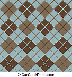 Seamless vector argyle pattern in blue and taupe. 12-inch repeat.