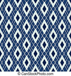 Argyle Pattern Japanese Style Seamless Vector. Hand Drawn Indigo Blue Diamond
