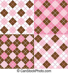 A set of four argyle background patterns