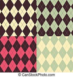 A set of four Argyle Seamless patterns