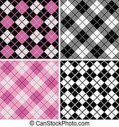 argyle-plaid, mönster, in, black-pink