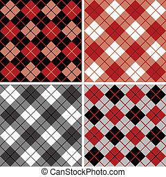 argyle-plaid, padrão, em, black-red