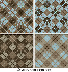 Argyle-Plaid Pattern Blue-Brown - Vector seamless argyle-...