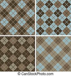 Argyle-Plaid Pattern Blue-Brown - Vector seamless argyle-...
