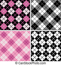 Vector seamless argyle-plaid patterns in black and pink. Six inch repeat.