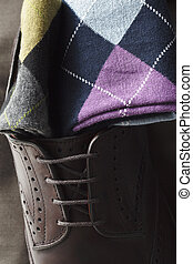 argyle socks and leather shoes - Argyle socks and leather...