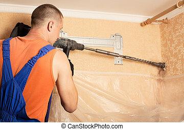 aria, maestro, condizionamento, installare, nuovo, conditioner., wall., preparare, perforazione