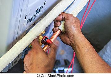 aria, parte, conditioner., preparare, installare, nuovo