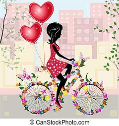 aria, ragazza, fiore, bicicletta, valentines