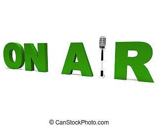 aria, vivere, radiodiffusione, radio, studio, o, mostra