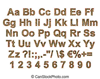 Arial Black Alphabet stylized to rusty painted metal - TGA...