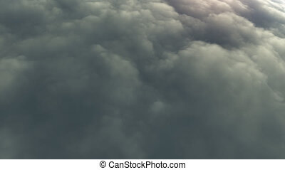 flying through cloudy blue sky