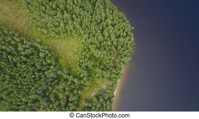 Arial footage of green fileds near a lake