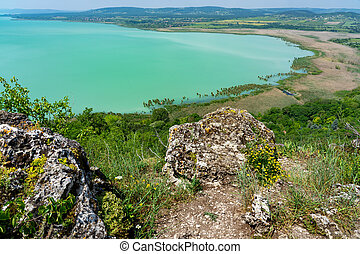 Arial panoramic view of Lake Balaton from Tihany