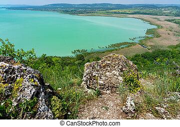 Arial panoramic view of Lake Balaton from Tihany