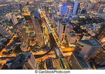 Arial view city downtown with train station interchanged,...