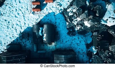 arial view of antarctic base and scientific research station