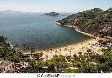 Arial view of famous Praia Vermelha Beach, Rio de Janeiro,...