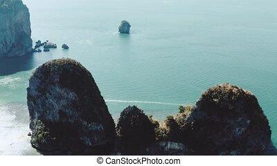 Arial view of limestone cliffs near Railay Beach in Thailand...