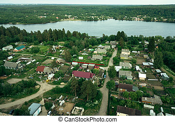 Arial view of the village in Leningrad region, Russia.