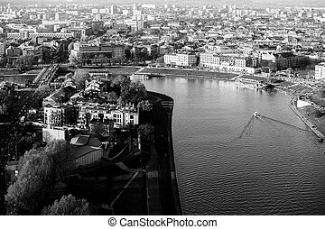 Arial view of the Vistula River in Krakow, Poland. Black and white photo.