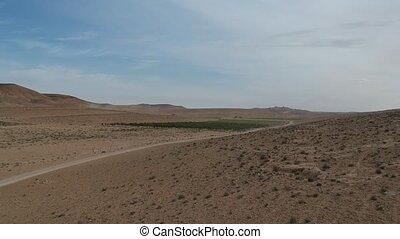 ariel, aanzicht, van, de, negev woestijn, horizon, in, israël