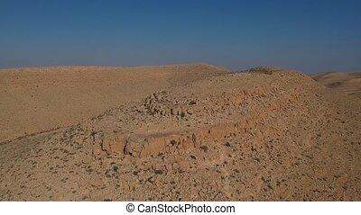 ariel, negev, vue, colline, désert
