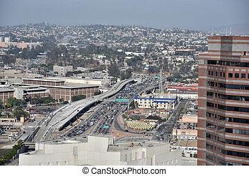 Ariel view of a Los Angeles Freeway