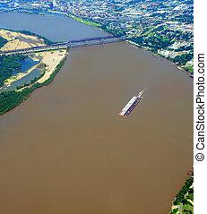 Ariel View of Mississippi River at Memphis Bridge