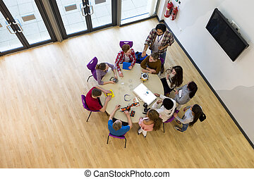 Ariel View of Technology Lesson - Ariel view of students and...