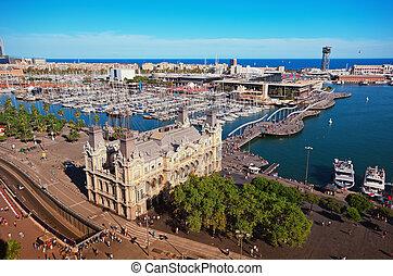 ariel, vista, de, puerto, de, barcelona