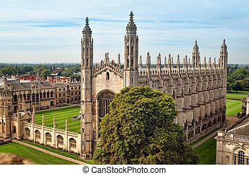 ariel, vista, de, reis, faculdade, cambridge.