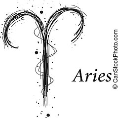 Aries astrology sign, hand drawn horoscope zodiac icon....