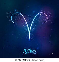 aries, cósmico, brillar, neón, zodíaco, azul, símbolo