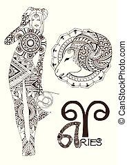 aries, estilizado, señal, zodíaco