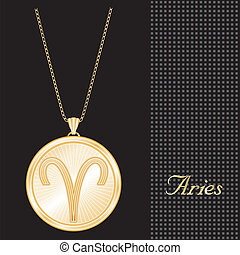 Aries Gold Pendant Necklace - Gold engraved horoscope...