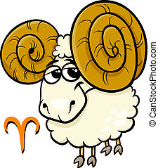 aries or the ram zodiac sign - Cartoon Illustration of Aries...