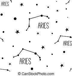 Aries. Seamless pattern with zodiac sign