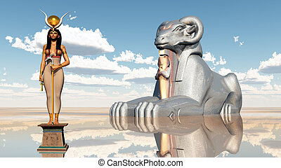 Aries sphinx and the goddess Hathor - Computer generated 3D...